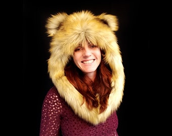 Playaborn Lion HaloHood - Festival Wear, Burning Man, Headdress, Fantasy, Cosplay, Rave