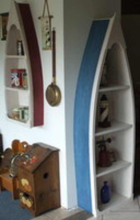 6 Foot Row Boat Bookshelf Bookcase Shelf Nautical Cabin And