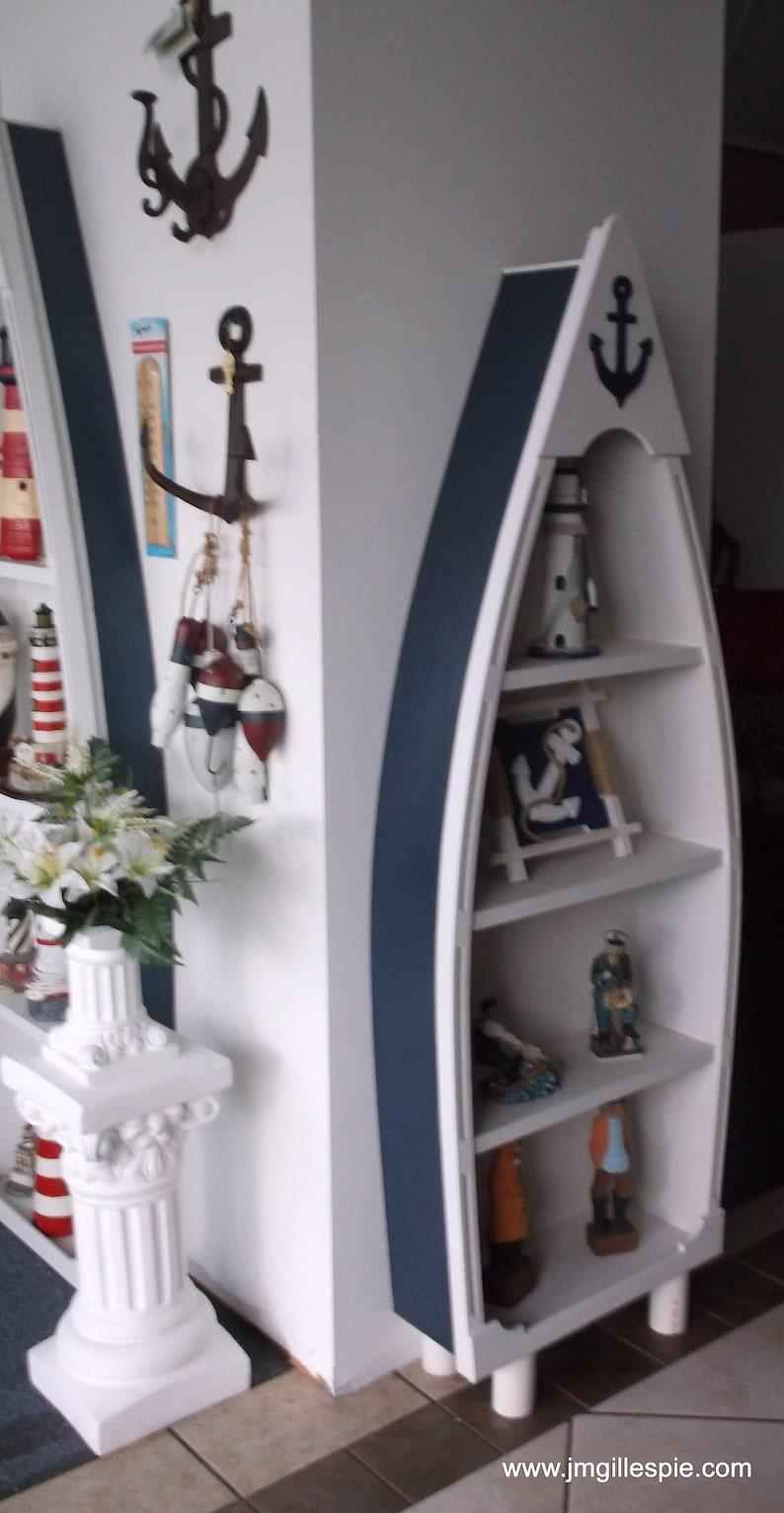 5 Boat Shelf Navy Blue And White With Anchor Baby Nursery Wedding Skiff Dory Cottage