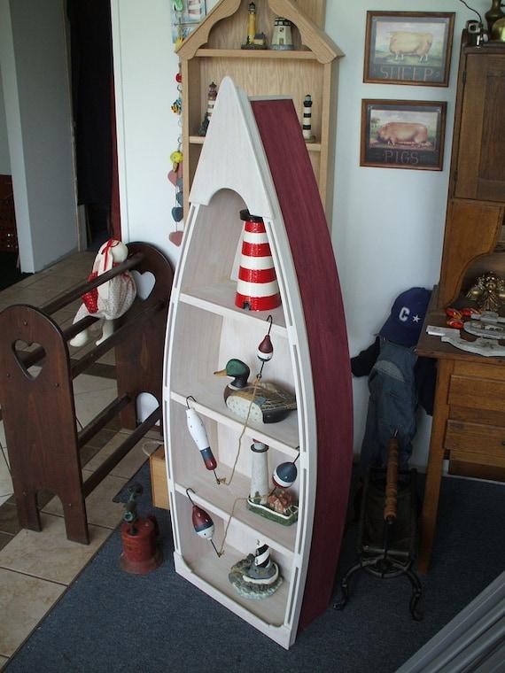 5 Foot RED Row Boat Bookshelf Shelf Bookcase Shelves Skiff