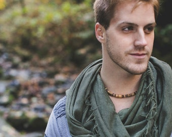 Men's necklace made from grey smoky quartz and tan coconut shell - Gunsmoke