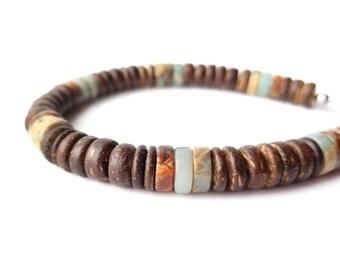 Surfer men's bracelet - wood and gemstone bracelet for men - Earth and Sea