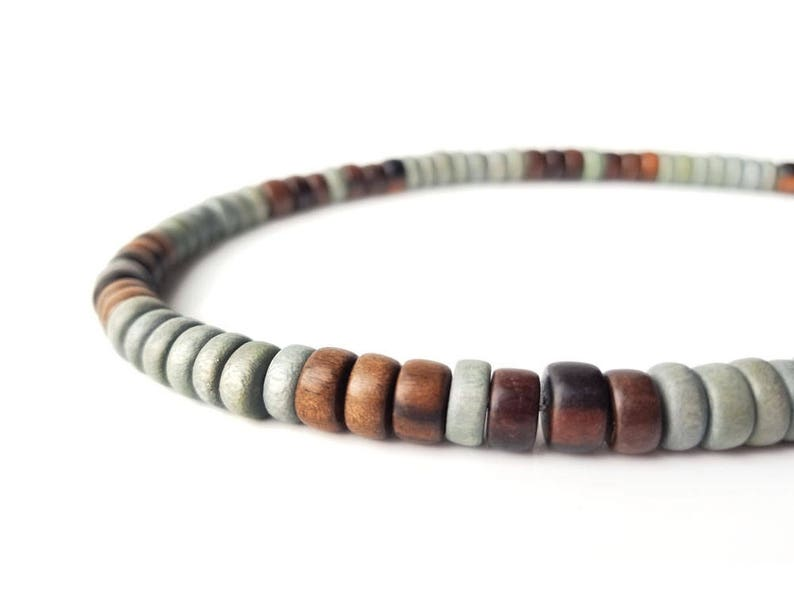 Mens Wooden Necklace Mens Jewelry Mens Wood Necklace Mens Wood Bead Necklace Grey And Brown Mens Necklace Mens Beaded Necklace