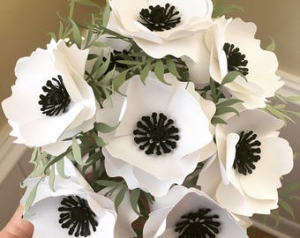 Paper flower centerpiece etsy white anemone paper flowers with greenery black and white wedding flowers centerpiece mightylinksfo