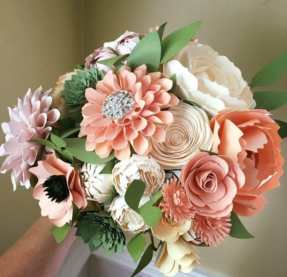 Peaches And Cream Paper Flower Wedding Bouquet With Brooch Etsy