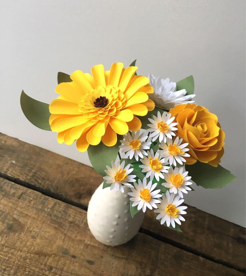 Blanc Et Jaune Fleur Bouquet Jaune Gerbera Daisy Fleurs En Etsy