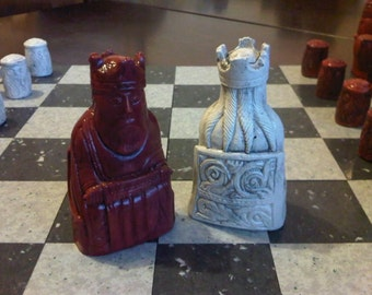 Classic Isle of Lewis Chess Set - Moroccan Red and Antique Stone with 2 extra queens and optional Vinyl Chess Board