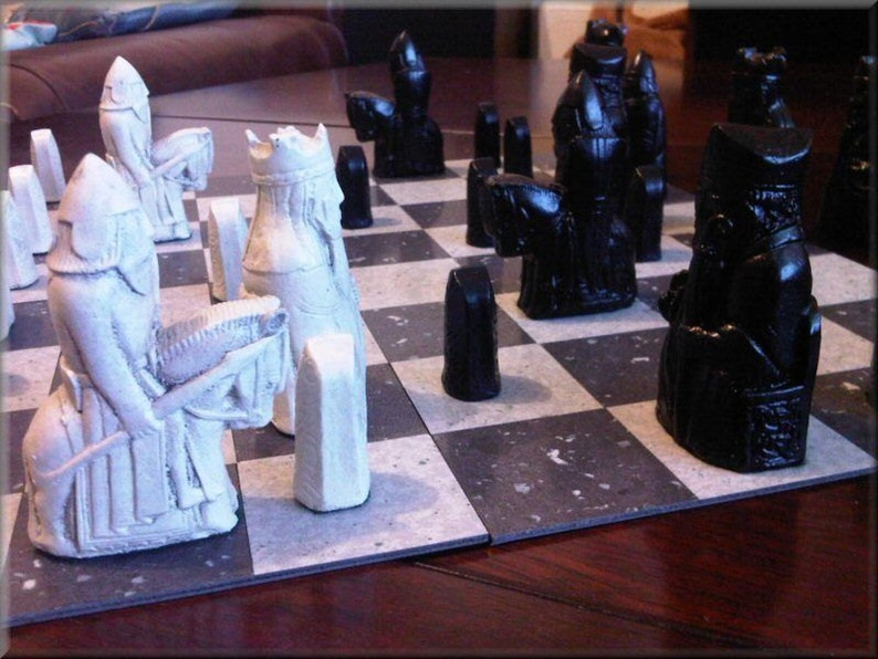 Isle of Lewis Chess Set  Classic Jet Black and Two Extra image 0