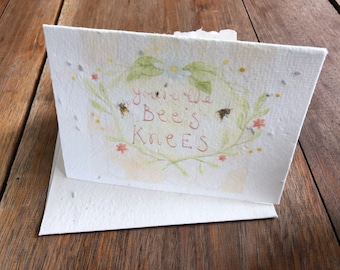 """Parsley seeded card - You're the Bees Knees"""" - parsley seeded tree free greeting card 4 x6"""" with envelope"""