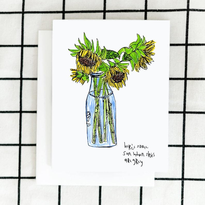 Sunflowers Card Greeting Card Illustrated Card Blank Note image 0