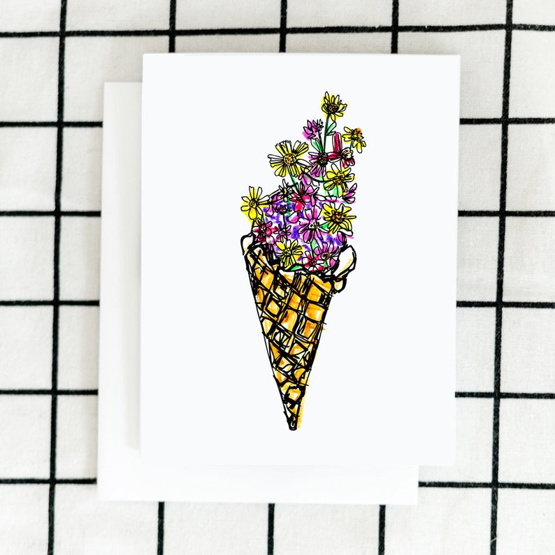Ice Cream Floral Card Greeting Card Art Card Illustrated image 0