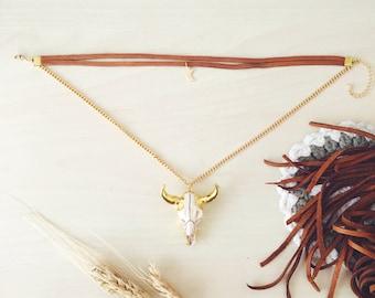 24K Gold Cow Skull Choker Necklace