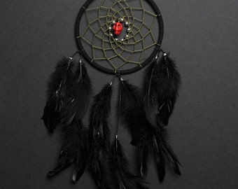 Dream Catcher- Black and Olive Green with Red Skull