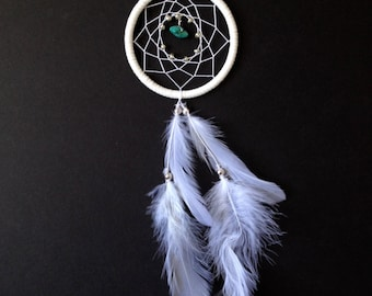 Dream Catcher for Car Mirror- All White with Turquoise!
