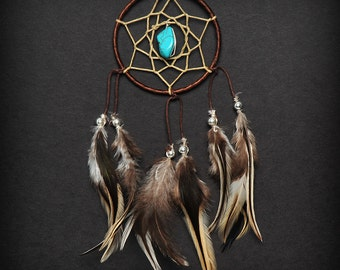 Brown Turquoise Stone Car Mirror Dream Catcher, Mini Dreamcatcher, Small Dreamcatcher, Boho Car Dreamcatcher, Boho Car Decor