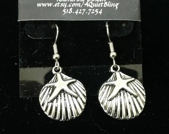 Starfish and Shell pewter earrings