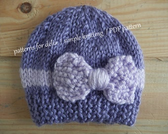 Bow Hat KNITTING PATTERN newborn baby infant toddler child photography prop 01225d85c047
