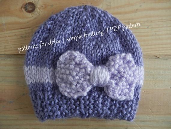 Bow Hat Knitting Pattern Newborn Baby Infant Toddler Child Etsy