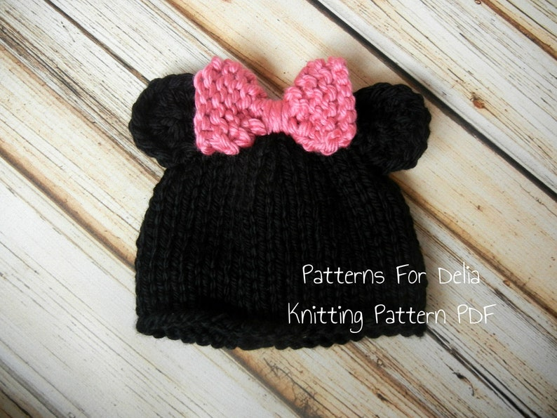 Minnie Mickey Mouse Hat KNITTING PATTERN easy beginner teddy  4ca4bbb310e1