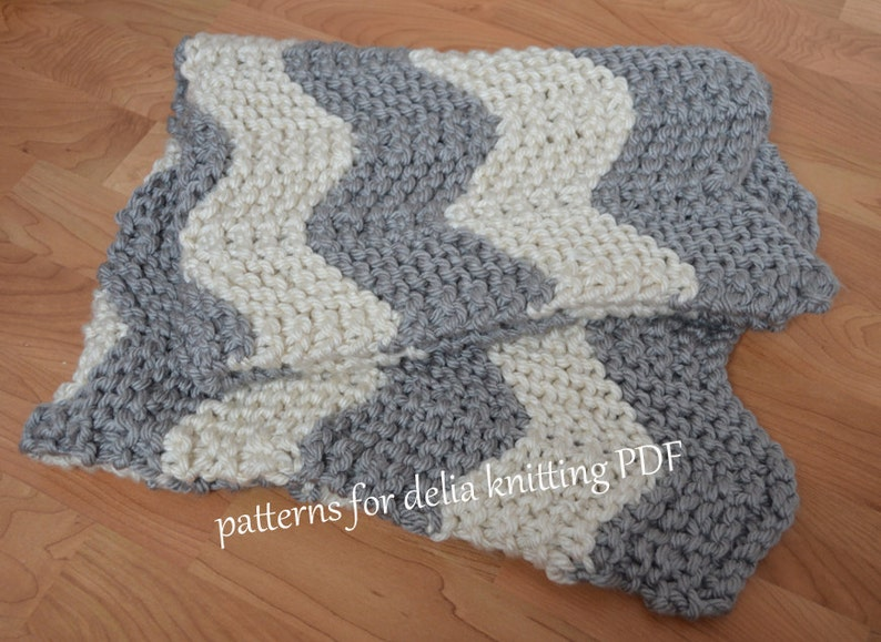 Chunky Chevron Baby Blanket KNITTING PATTERN easy beginner ...