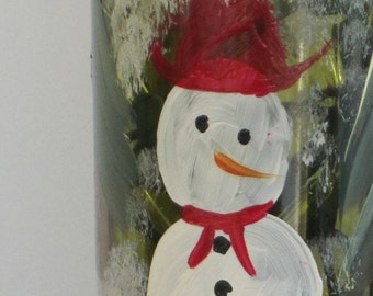 On Sale Wine bottle with red hat red scarf Snowman hand painted in snow and evergreens . White lights inside the bottle. ingeborgsorgent