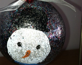 ON SALE 10% OFF Ornament Snowman hand painted great gift for Teacher. Christmas. Gift for her. Housewarming
