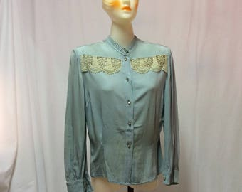 1920's Silk Blouse Jeweled Buttons