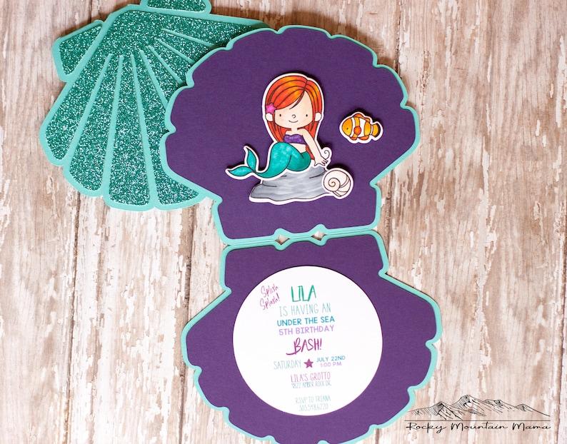 Mermaid Birthday Invitation Seashell Party Invitations