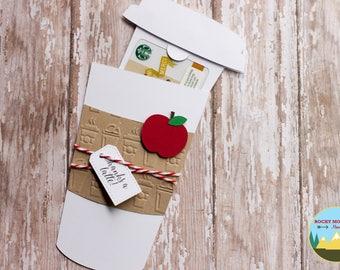 Coffee Cup Gift Card Holder, Teacher Coffee Gift Card Envelope, Starbucks Card Holder, Teacher Appreciation Gift