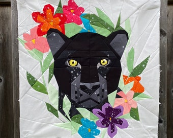 Floral Big Cats - Black Panther Foundation Paper Piecing Pattern