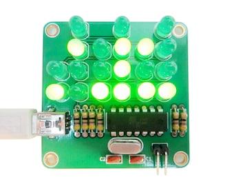 Binary Clock Kit with Green Lights