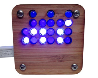 Binary Clock in Sustainable Bamboo Case USB Powered Blue Lights (As Kit or Assembled)
