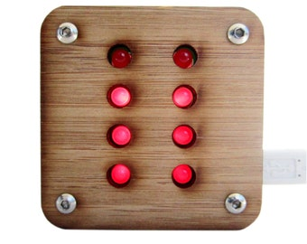 Binary Thermometer Kit With Bamboo Case Red Lights