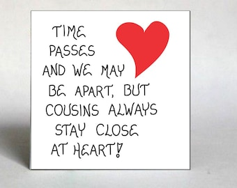 Magnet - Cousin - Quote, Relatives, Best Friends, Family, red heart