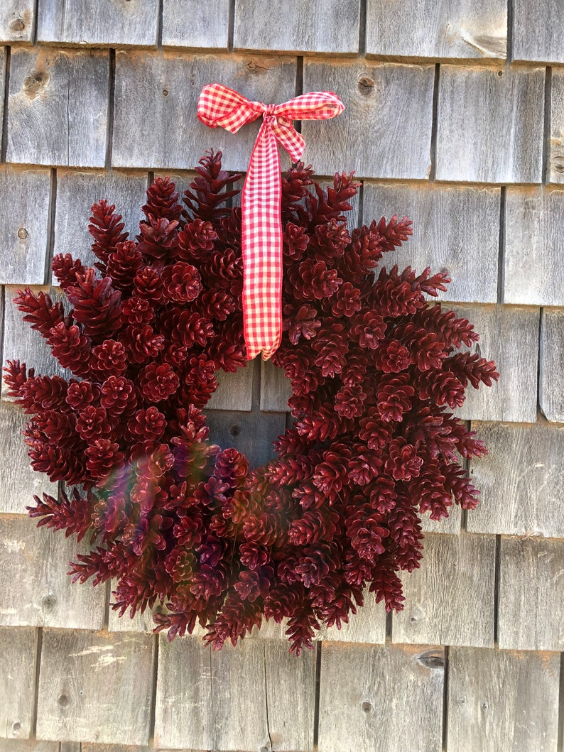 Wine Pinecone Wreath Made In Maine