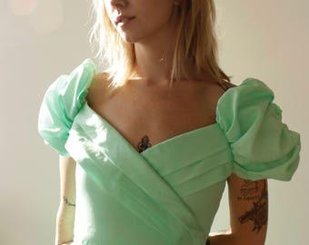 Vintage 70s fairy princess bridesmaid gown, handmade- Small