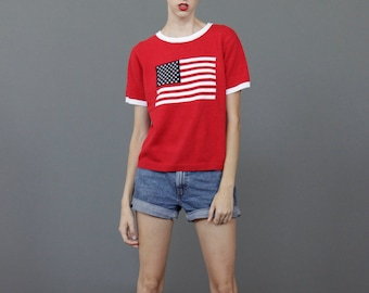 American Flag knitted sweater! Small