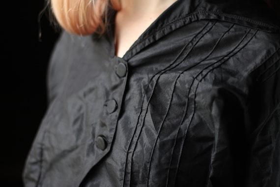 Antique Victorian Silk blouse Small Medium black … - image 5