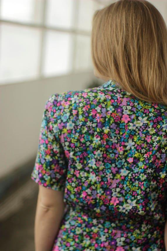 Vibrant psychedelic 60s print dress, Medium - image 8