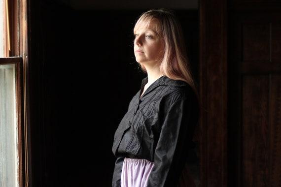 Antique Victorian Silk blouse Small Medium black … - image 4