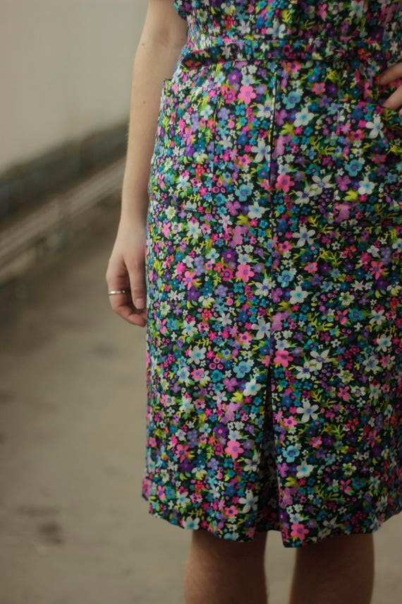 Vibrant psychedelic 60s print dress, Medium - image 5