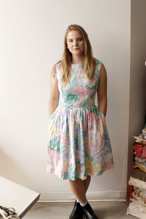 50s Pastel watercolor print dress, Pockets, BEAUTI