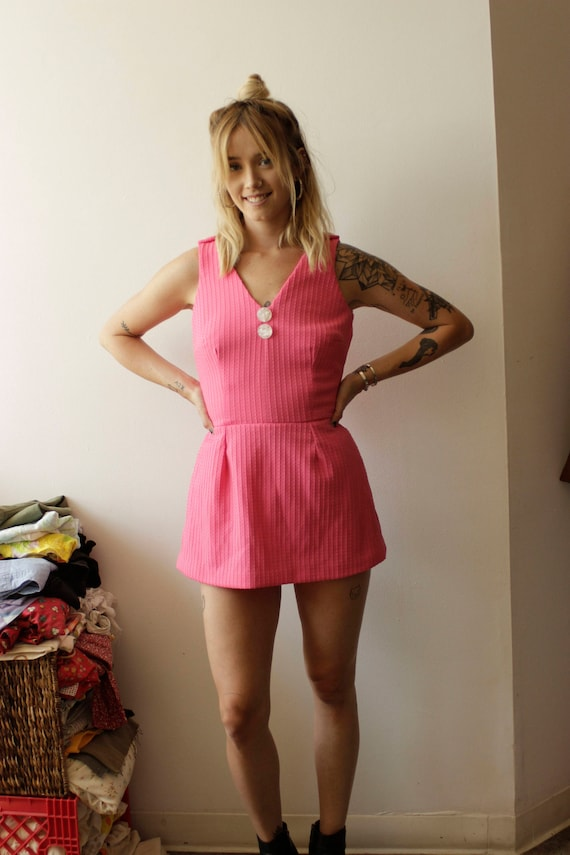 60s Pink Swim Suit/Bathing Suit, Pin up- Small