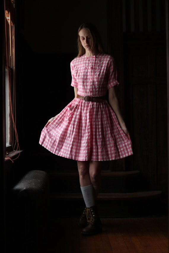 1940s Pink Gingham dress Small XS pocket 50s
