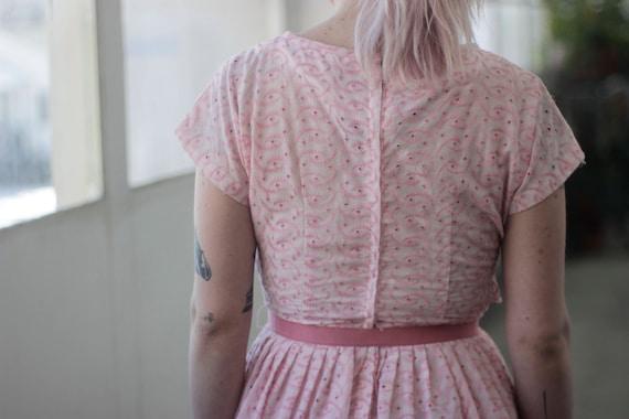 50s ballet Pink eyelet dress, XS/S