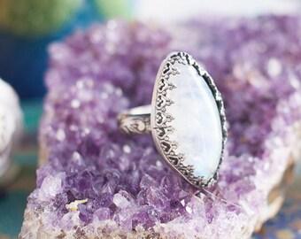 Moonstone Ring - Size 5.5 -  Marquise Ring - Boho Ring - Silver Moonstone Ring - Gemstone Ring