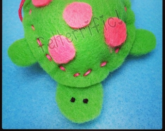 1 Dozen Handmade Felt Mini Turtle Ornaments