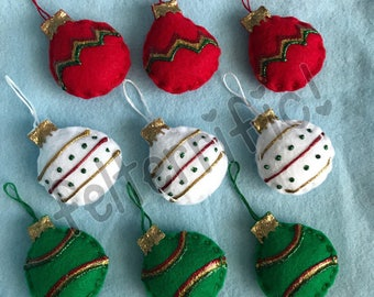 1 Dozen Handmade Felt Mini Christmas Ornaments