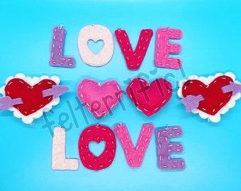 Handmade Felt Mini Valentines Day Love Ornaments
