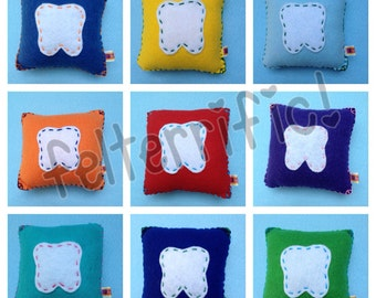 Handmade Felt Tooth Fairy Pillow Square Boy or Girl